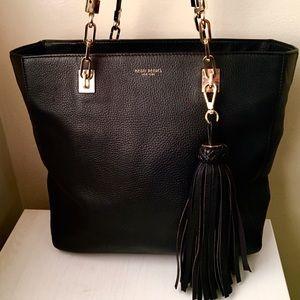 Large Henri Bendel Black Leather Tote Handbag